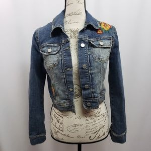 Forever 21 Cropped Embroidered Denim Jacket Med